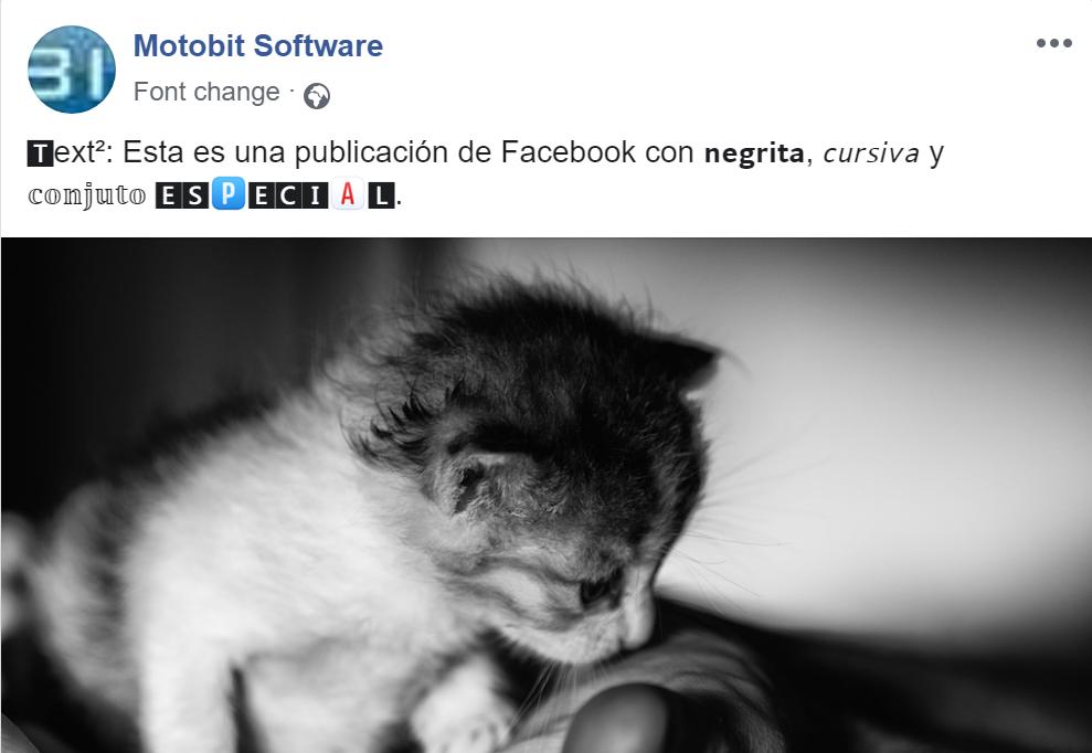 Cambio de fuente: texto en negrita y cursiva en Facebook.